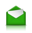 Green open envelope with blank paper vector image
