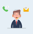 happy man-operator of trust with a headset vector image