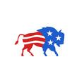 North American Bison USA Flag Retro vector image