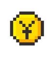 pixel art yen golden coin retro video game vector image