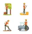 Farmer harvests fruits and vegetables caring vector image