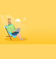 businessman working on laptop on the beach vector image vector image