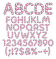 letters numbers and signs from pink sweets vector image