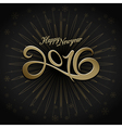 2016 happy new year greeting on black background vector image