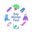 Winter activity and equipment flat icons on circle vector image