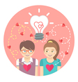 Couple in love with a light bulb in a pink circle vector image