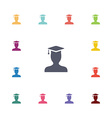 graduate student flat icons set vector image