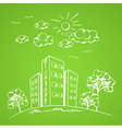 Green hand drawn background vector image