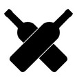 two crossed wine bottles icon vector image