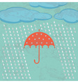 Umbrella clouds and rain drops vector image