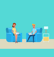 Man and woman working at home with laptop on sofa vector image