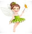 Cute little summer fairy girl with a Magic wand vector image
