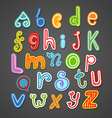 Abstract hand-drawn color doodle alphabet design vector image