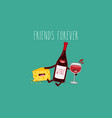 cartoons of comic characters bottle of wine vector image