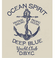 Deep blue ocean spirit yacht club vector image