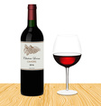 Template of bottle of red wine with glass made in vector image