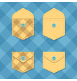 Set of opened and closed pockets Checkered vector image
