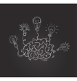 hand drawn brain with different bulbs vector image