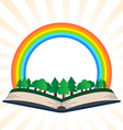 a book with a rainbow at the forest vector image