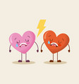 cute cartoon two hearts love cry sad vector image