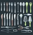 flat color cutlery set vector image
