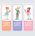 set of vertical banners with teenagers using vector image