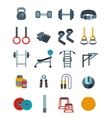 Weightlifting flat icons set vector image
