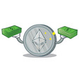 with money ethereum coin character cartoon vector image