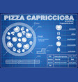 pizza capricciosa ingredients blueprint scheme vector image