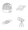 observatory with radio telescope planet mars vector image