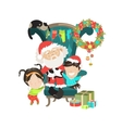 Santa Clause with happy kids vector image