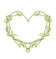 Fresh Green Leaves and Stem in A Heart Shape vector image vector image