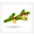 background with decorated Christmas green spruce vector image