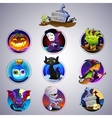 Colorful set of halloween icon vector image