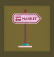 flat shading style icon sign of market vector image