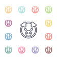 pig flat icons set vector image