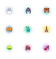 Stay in France icons set pop-art style vector image