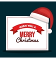 merry christmas card with hat red design vector image