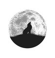 silhouette of howling wolf on full moon background vector image