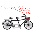 Tandem bicycle with red hearts vector image