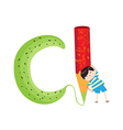 a Kid Leaning on a Letter C vector image