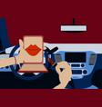 beautiful woman driving car vector image