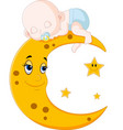cute baby sleeping on the moon vector image