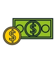 dollar bill and coin isolated icon design vector image