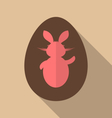 Easter bunny in chocolate egg trendy flat style - vector image