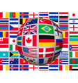 Globe on a background with flags of the world vector image