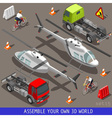 Isometric Flat 3d Vehicle Aid Carrier Ride Set vector image