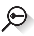 magnifying glass with key icon vector image
