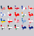 roosters with flags of different countries vector image