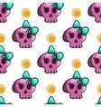 Seamless pattern with cartoon skulls vector image
